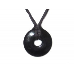 Donut Anhänger schwarzer Turmalin 30 mm mit Band