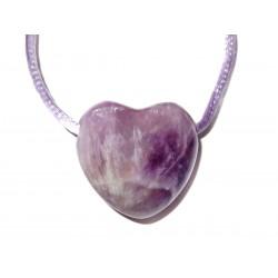 Herz Schmuckstein-Anhänger Amethyst violett mit Band
