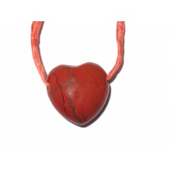 Herz Schmuckstein-Anhänger Jaspis rot mit Band