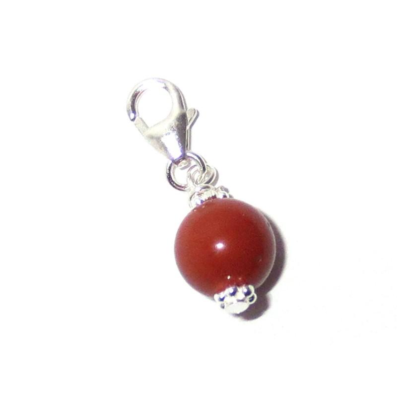 Charm-Anhänger Jaspis rot 925 Silber