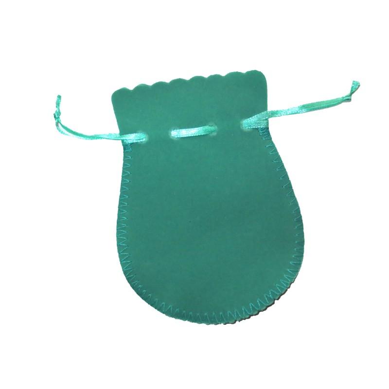 Samtbeutel mintgrün Geschenktäschchen 9 x 12 cm